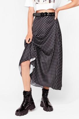 Nasty Gal Womens Dotta Shake It Up Satin Midi Skirt - Black - 6