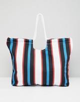 Monki Stripe Beach Bag
