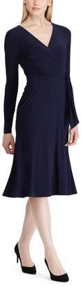 Lauren Ralph Lauren Cross-Neck Dress with Long Sleeves