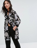 Girls On Film Floral Oversized Shirt