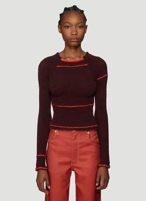 Eckhaus Latta Heat Wave Knit Sweater in Burgundy