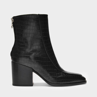 AEYDĒ Ankle Boots Lidia In Black Croc Embossed And Smooth Leather