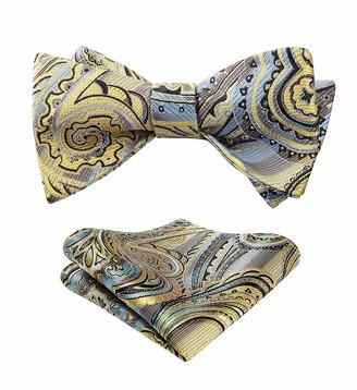 HISDERN Men's Floral Paisley Handkerchief Jacquard Wedding Party Self Bow Tie Pocket Square Set One Size