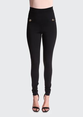 Balmain High-Waist Back-Zip Leggings