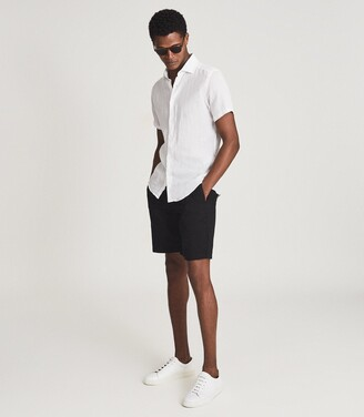 Reiss HOLIDAY Linen slim fit shirt White