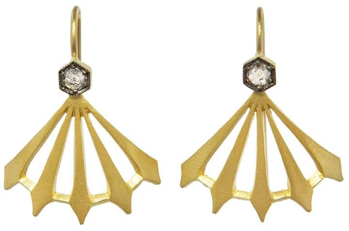 Cathy Waterman Diamond Big Top Earrings - Yellow Gold