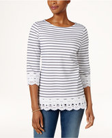 Charter Club Petite Striped Cotton Crochet-Trim Top, Only at Macy's