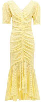 STAUD Panier Ruched Gingham Seersucker Midi Dress - Womens - Yellow