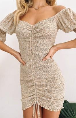 Beginning Boutique Kimya Off Shoulder Shirred Dress Beige