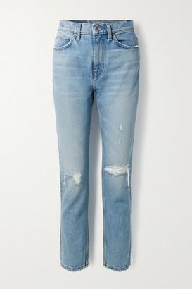 RE/DONE '70s Distressed High-rise Straight-leg Jeans - Light denim
