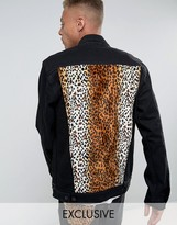 Reclaimed Vintage Inspired Oversized Denim Jacket With Leopard Print Panel