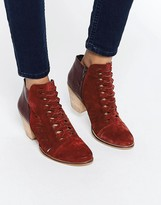 Free People Loveland Red Leather Ankle Boots