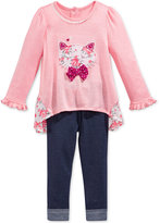 Nannette Baby Girls' 2-Pc. Cat Top & Denim Leggings Set