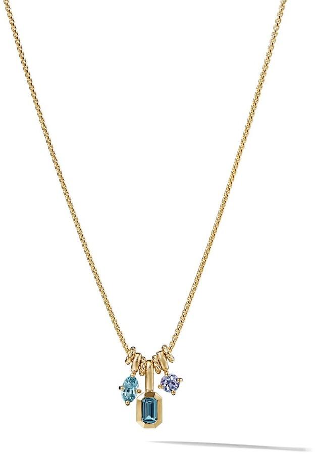 David Yurman 18kt yellow gold Novella Hampton Blue Topaz, Aquamarine, and Tanzanite pendant necklace