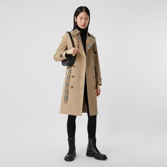 Burberry Vintage Check Panel Cotton Gabardine Trench Coat