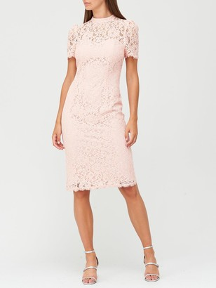 Very High Neck Lace Pencil Dress - Blush
