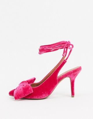 ASOS DESIGN Sylvie tie leg mid-heels with bow in pink velvet