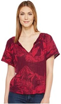Lucky Brand Tropical Leaves Peasant Top Women's Short Sleeve Pullover
