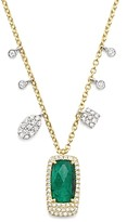 Meira T 14K White and Yellow Gold Emerald Pendant Necklace with Diamonds, 16