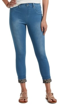 Hue Women's Printed-Cuff Ultra Soft High-Waist Denim Leggings