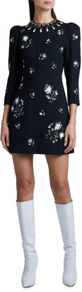 Andrew Gn Floral Embroidered Puff-Sleeve Mini Dress