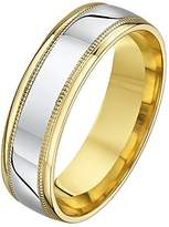 Theia His & Hers 14ct Yellow and White Gold Two-Tone 6mm Millgrain Wedding Ring - Size V