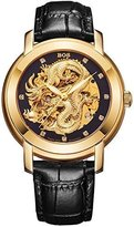 BOS Men's 'Dragon Collection' Luxury Carved Dial Automatic Mechanical Calfskin Waterproof Watch 9007