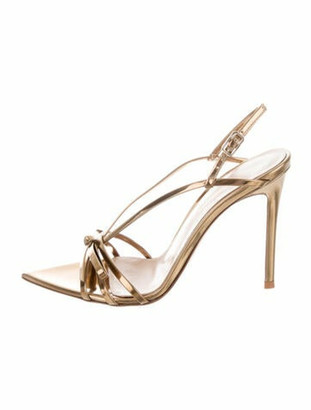 Gianvito Rossi Patent Leather Slingback Sandals Gold
