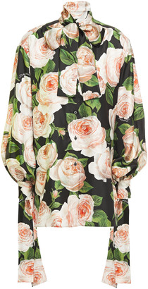 Dolce & Gabbana Pussy-bow Floral-print Silk-twill Blouse