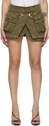 Balmain Khaki Denim Layered Miniskirt