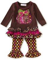 Bonnie Jean Bonnie Baby Baby Girls Newborn-24 Months Thanksgiving Pumpkin Dress & Dotted Leggings Set
