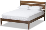 Baxton Studio Elmdon Mid-Century, Solid Walnut Wood Platform Bed, Full
