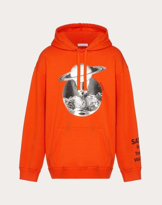 Valentino Soul Planets Hooded Sweatshirt Man Orange 94% Cotone, 6% Poliammide L