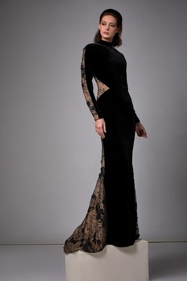 Edward Arsouni Long Sleeve Velvet Gown with Lace