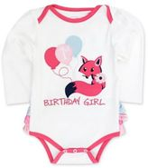 """Ruffle Butts® Size 12-18M """"Birthday Girl"""" Long Sleeve Bodysuit in White/Pink"""