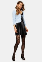 Topshop Womens Petite Black Pleated Pu Mini Skirt - Black