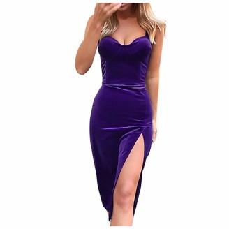 R&K Dress for Women's Solid Shoulder Strap Open Back Suede Temperament Slim Split Dress Purple