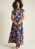 ModCloth Short Sleeve Maxi Dress with Collar in S - Shirt Dress