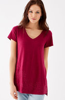 J. Jill Embroidered V-Neck Tee