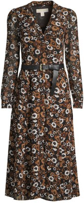 MICHAEL Michael Kors Floral Belted Midi Shirtdress