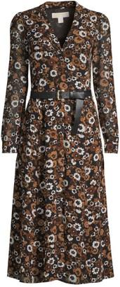 MICHAEL Michael Kors Floral Belted Midi Shirtdress