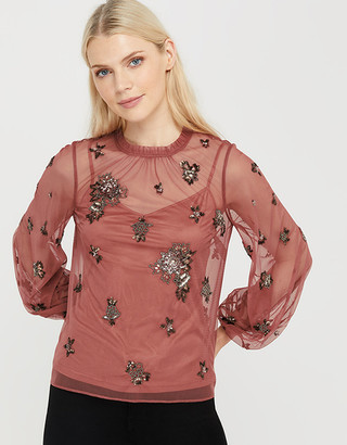 Under Armour Rosanna Sustainable Embellished Mesh Blouse Pink