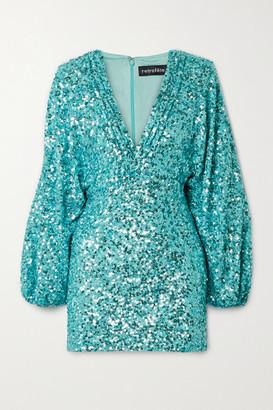 retrofete Aubrielle Sequined Chiffon Mini Dress - Turquoise