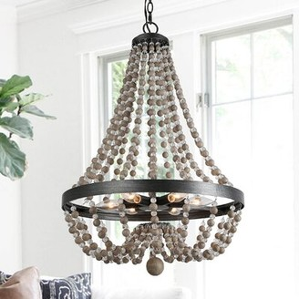 "Bungalow Rose Bethune 4 - Light Unique / Statement Empire Chandelier with Beaded Accents Size: 28.3"" H x 20.1"" W x 20.1"" D"