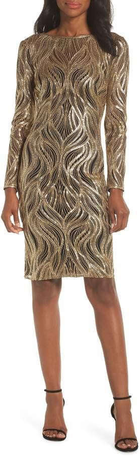 Tadashi Shoji Long Sleeve Sequin Mesh Cocktail Dress
