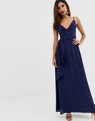 Asos Design DESIGN cami wrap maxi dress with tie waist-Navy