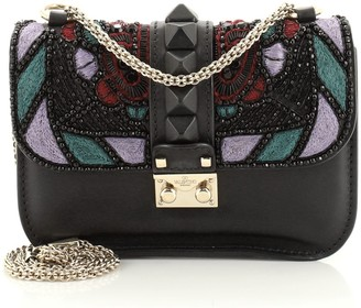 Valentino Glam Lock Shoulder Bag Embroidered Leather Small