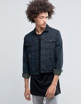 Cheap Monday Staple Denim Jacket Blackened Distressed