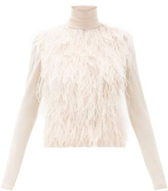 Giambattista Valli Feather-trim Roll-neck Cashmere-blend Sweater - Womens - Light Pink