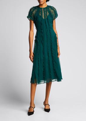 Jason Wu Collection Ruffle Crinkle Silk Midi Dress